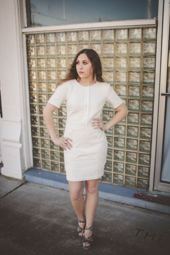Tamatha Ivory Woven Sheath Dress