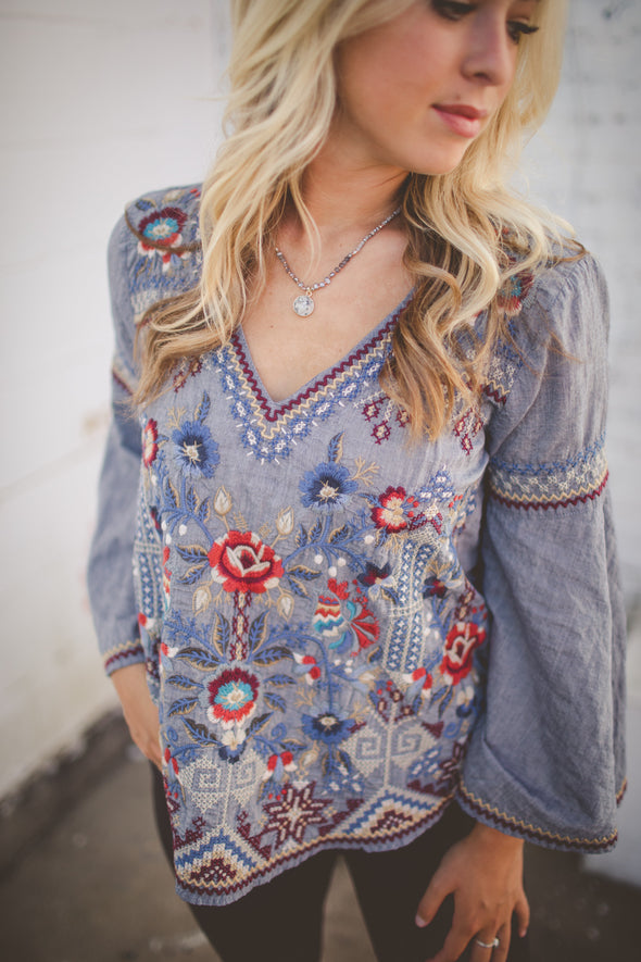 Johnny Was blue embroidered blouse