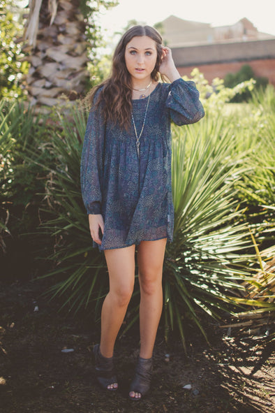 Blue pattern romper