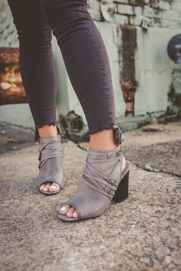 Open toe grey bootie