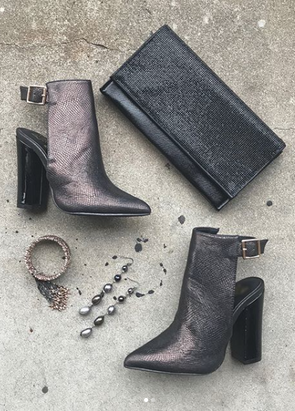 metallic snake heel booties