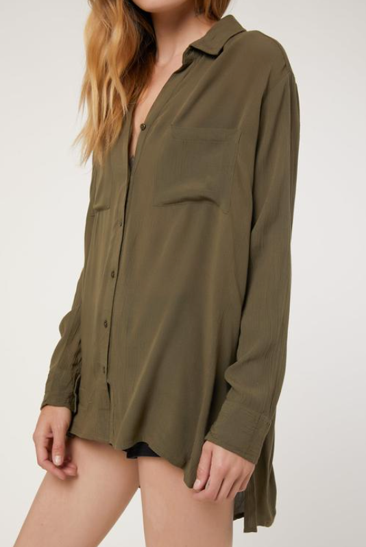 Olive Button Up Top