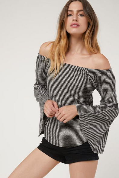 Stripe off the shoulder bell sleeve top