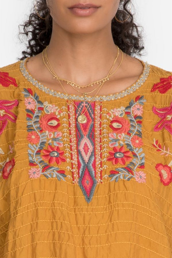 Johnny Was - Papaya Cupra Embroidered Blouse