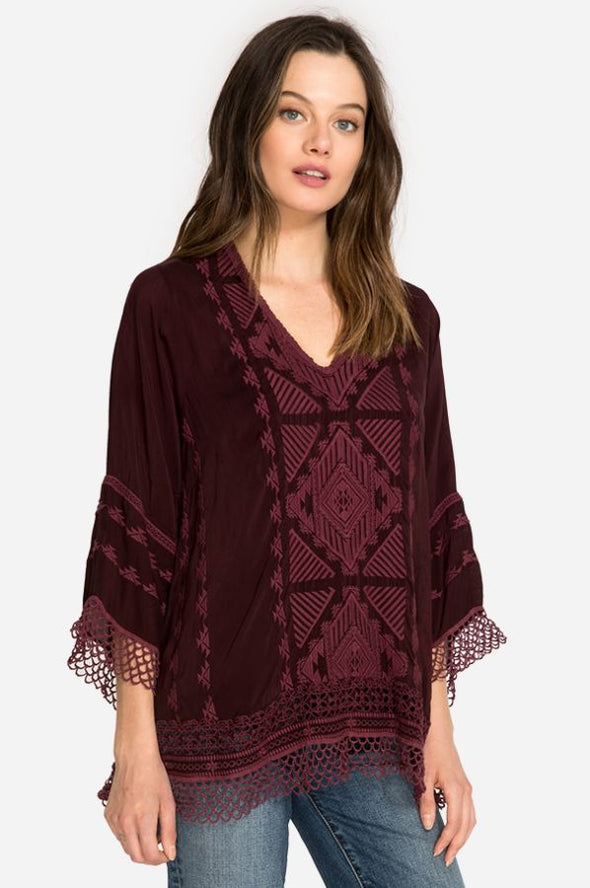 Johnny Was Burgundy Embroidered Top