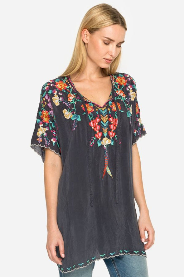 Johnny Was Embroidered Graphite Tunic