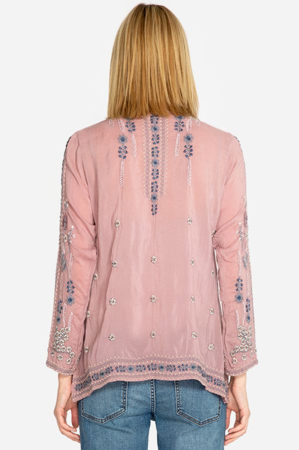 Johnny Was Lilac Embroidered Blouse