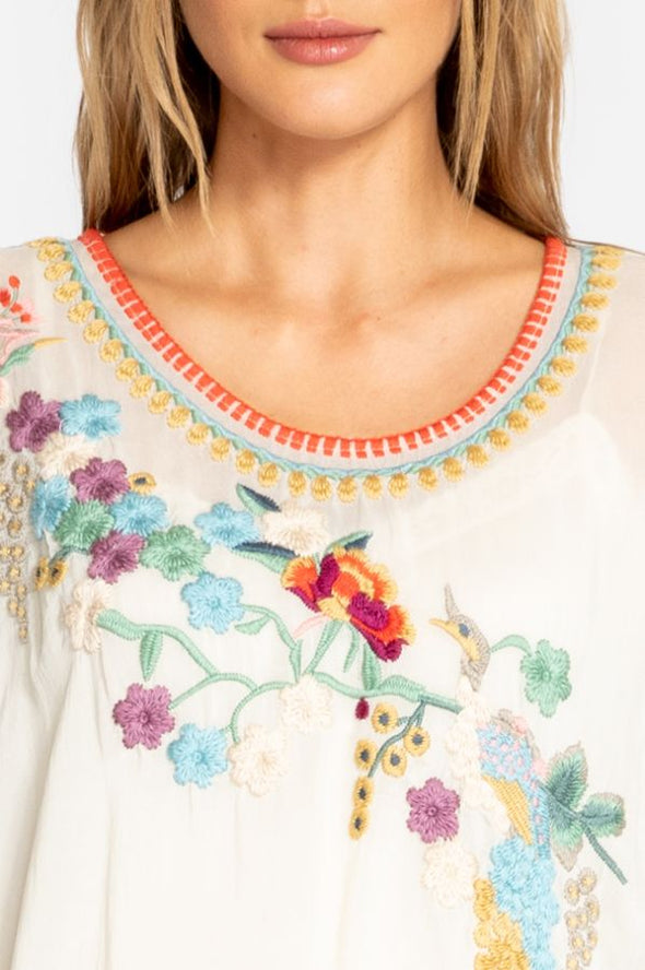Johnny Was Cream Embroidered Blouse