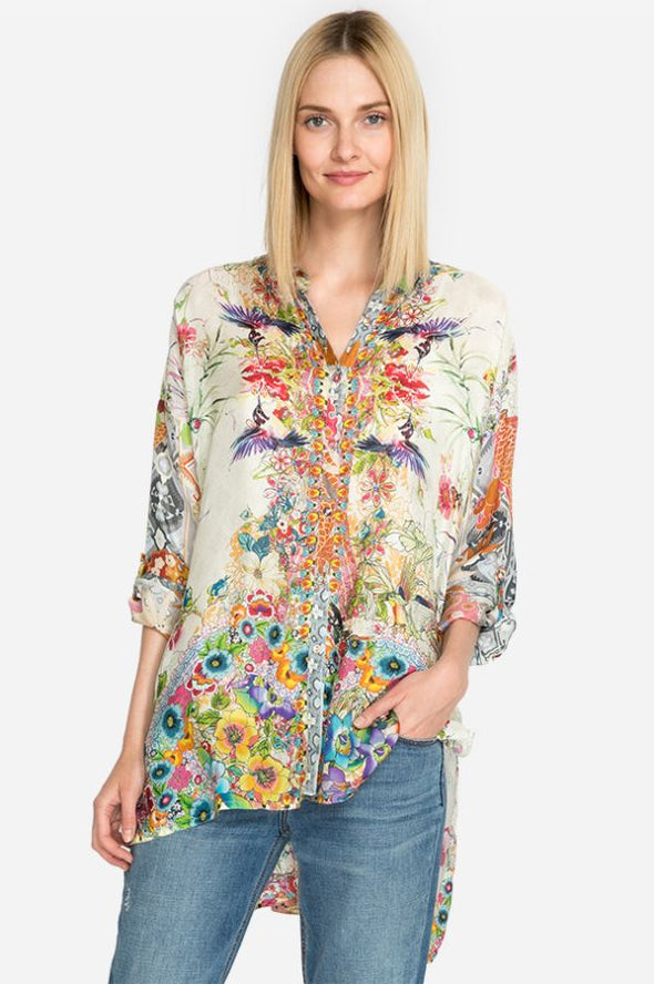 Johnny Was Colorful Print Silk Blouse