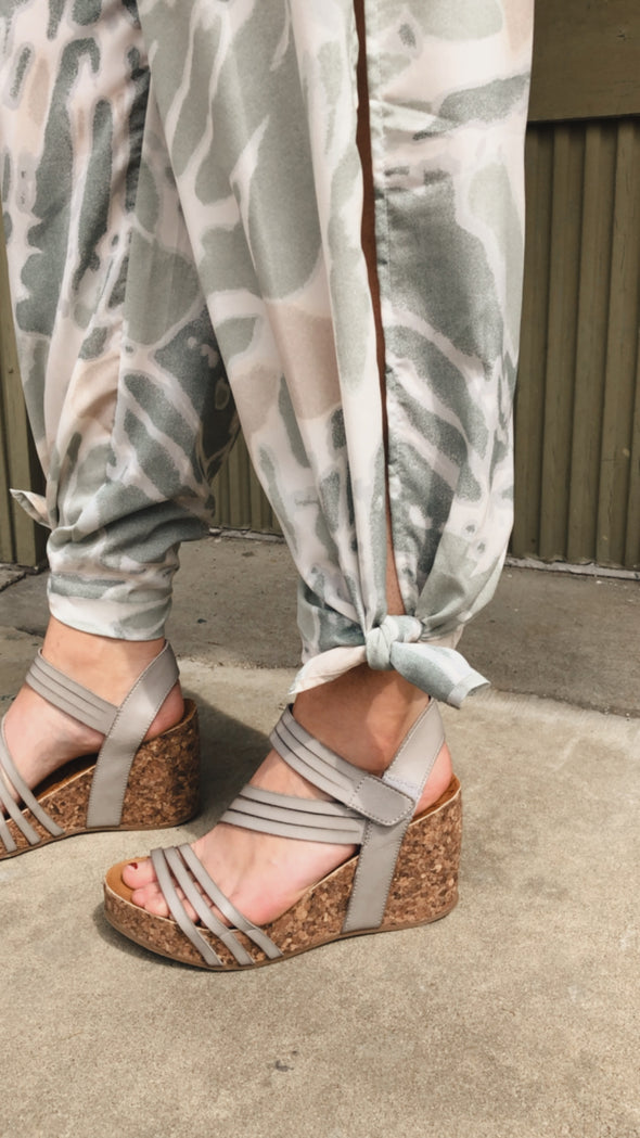 Watercolor Sage Slit Pant Jumpsuit