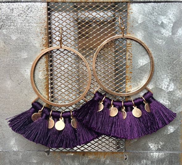 Purple Circle Tassel Earring