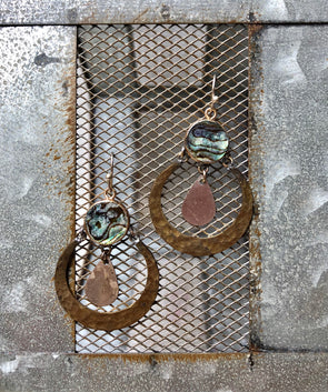 Handmade Gold and Silver Hammered Earring with Abalone Circle