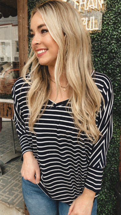Navy Striped Dolem Sleeve Top