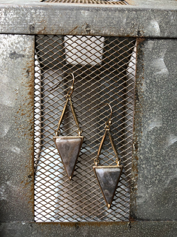 Grey Drop Down Triangle Earrings
