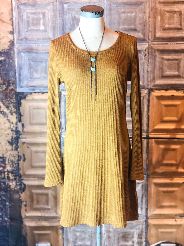 ribbed mustard bell sleeve dress