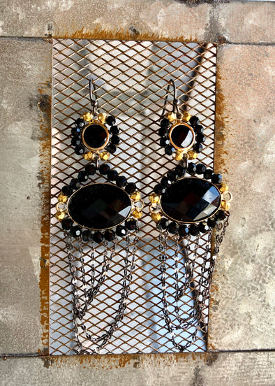 Large Handmade Black and Gold Earring with Gunmetal Draped Chain