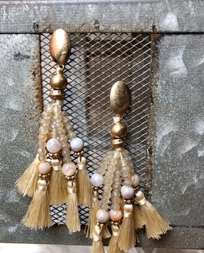 Ivory Tassel beaded Earrings with Neutral Stones