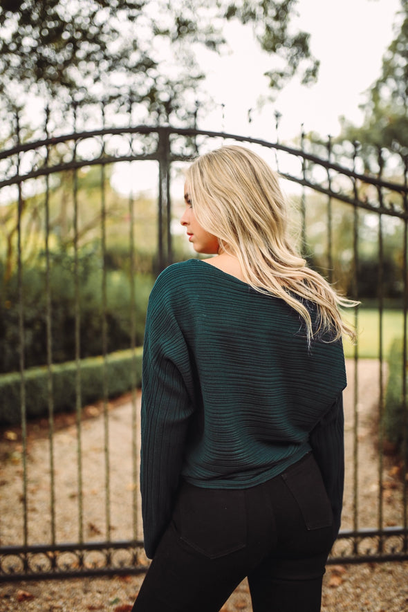 Amanda Green High Neck Crop Sweater