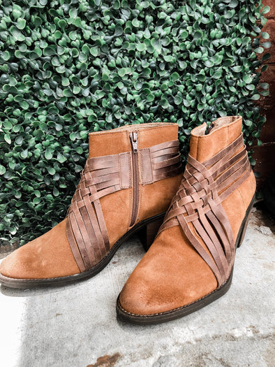 leather braided bootie
