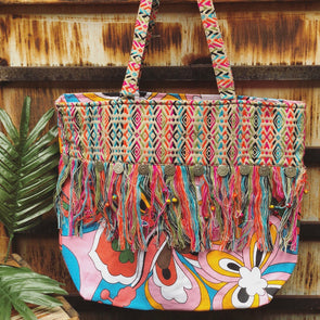 colorful fringe tote bag