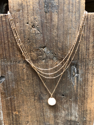 Dainty Elegant Mutli-Layer Gold Necklace with Mother of Pearl
