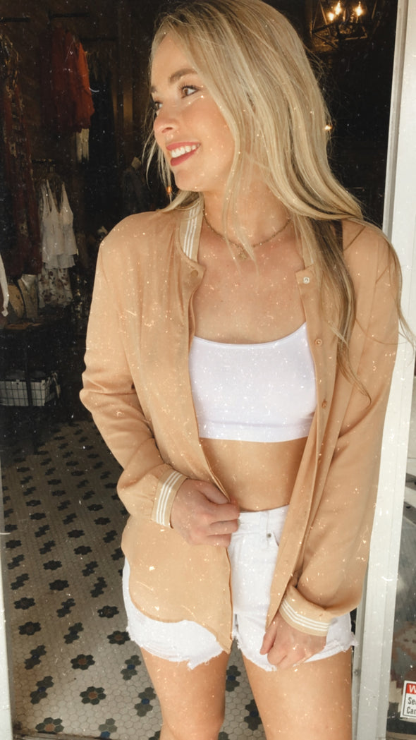 Tina Taupe Stripe Collar Bomber Jacket Blouse