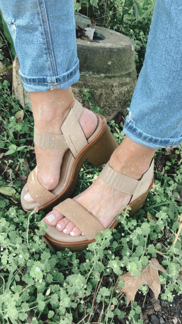 Isla Taupe Leather Chunky Block Heel