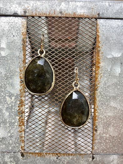 Large Dark Stone Teardrop Earring