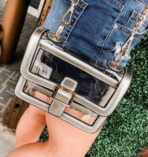 Game Day Silver Clear Cross-Body Purse