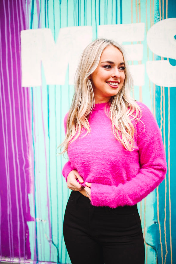 Forever Fuchsia Fuzzy Cropped Sweater