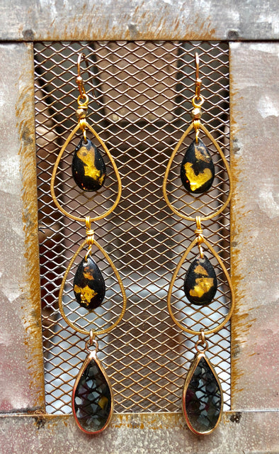 Handmade Teardrop Black with Gold Flake 3-Layer Earrings