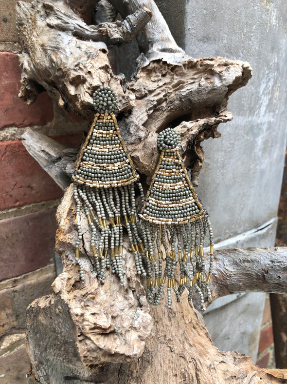 Grey and Gold Beaded Triangle Tassel Earrings