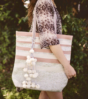 Just Peachy Oversized Silver Glitter Tote with Pom Poms