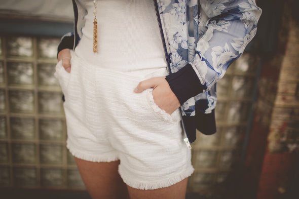 Hamptons Tweed White Shorts