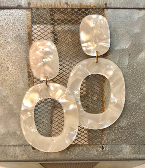 Naomi Handmade Large White Lucite Earrings