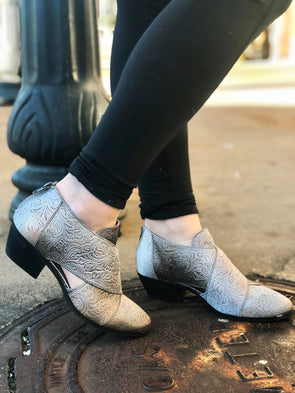 cross front grey bootie