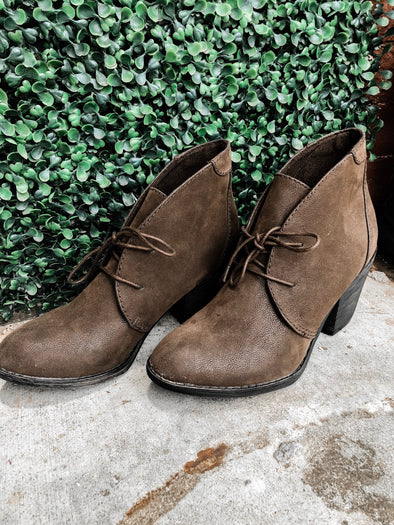 lace up brown bootie
