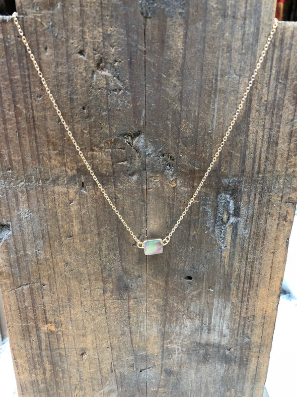 Dainty Abalone Square Necklace