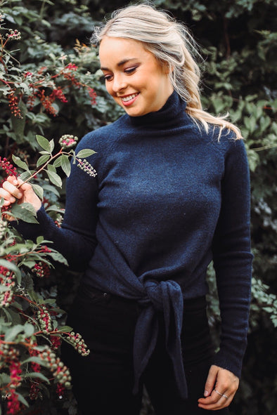 Phoebe Navy Tie Front Turtle Neck Sweater