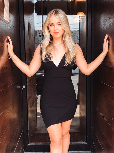 Night Out Black V-Neck Bodycon Dress