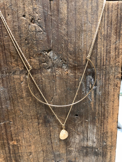 Double Layer Curve Bar Gold Necklace with Stone