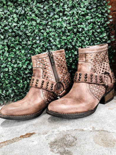 studded leather brown bootie