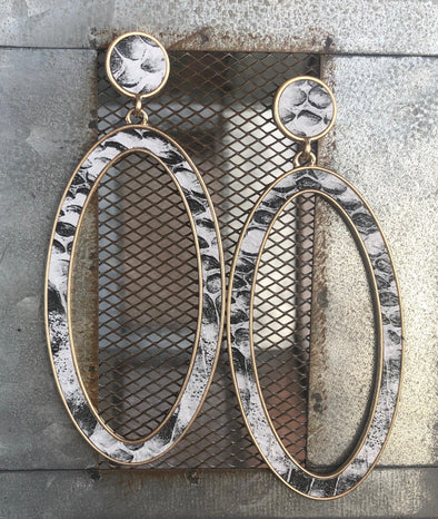 large snakeskin oval hoop earrings