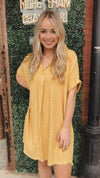 Veronica Yellow Collared V-Neck Frayed Hem Linen Dress