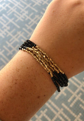 Black and Gold 5 Strand Beaded Slide Bracelet