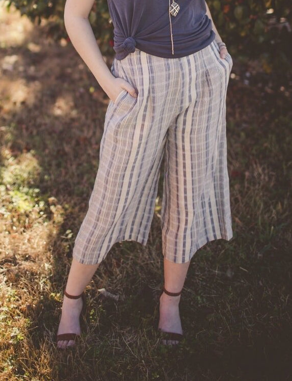 Jenni Striped Woven Culotte with Elastic Waist