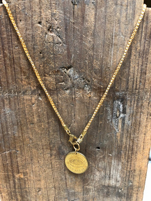 Peep Show Coin Peep Land Link Necklace