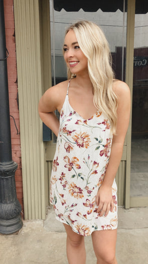 Fran Floral Cream Cheetah Dress