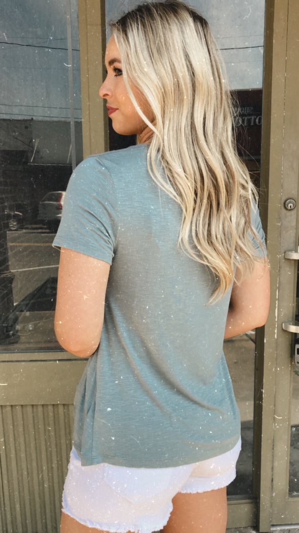 Summer Blues Twist Front Tee