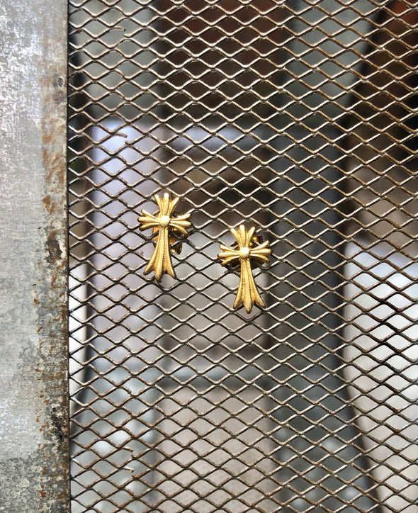Gold Flare Cross Studs